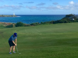 Chipping with the lighthouse behind